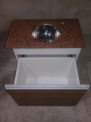 Mueble Vanitory flotante con bacha de acero inoxidable y