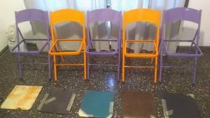 5 sillas plegables de chapa y mesa de bar plegable