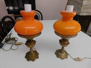 Veladores de bronce con tulipa naranja