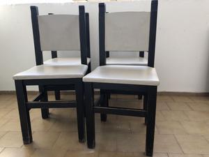 4 sillas de madera maciza tapizadas y pintadas