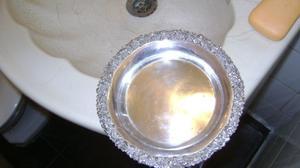 Antiguo Platito De Masas En Metal Plateado Triple Plateado