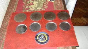 Antiguos 9 Posavasos En Metal Plateado Y Porcelana Y Acero