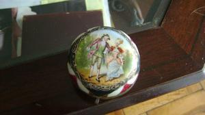 Antigua Polvera/alhajero En Porcelana Francesa Dorados/ Azul