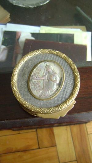 Antigua Polvera/alhajero Francesa En Bronce Y Plateados
