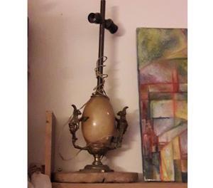 Lampara de alabastro y bronce