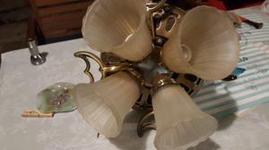 Ventilador de Techo de 4 aspas de madera y 4 tulipas