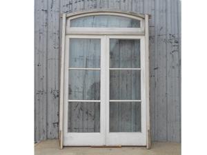 Antigua puerta de madera en cedro con banderola (174x275cm)