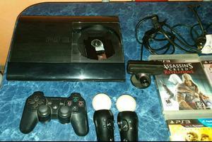 Consola PS3 kit move juegos