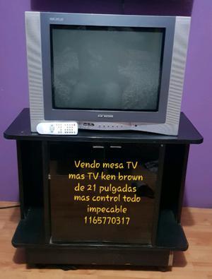 Vendo mesa TV mas TV ken brown de 21 pulgadas