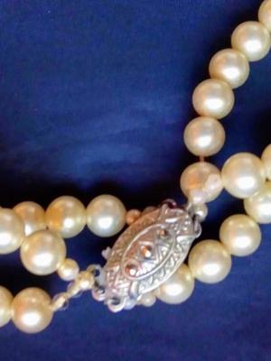 collar antiguo perlas tres vueltas
