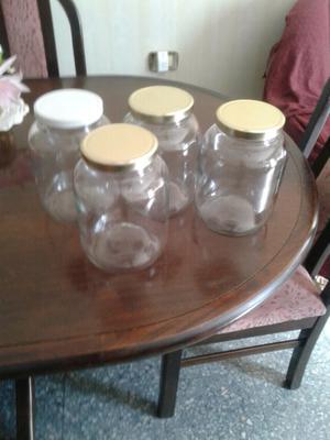 Frascos de vidrio grandes, con tapa, reciclados, impecables,