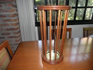Paragüero vintage de roble lustrado base de bronce