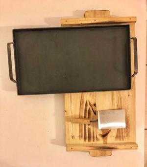 Set Plancha 3mm Con Base De Madera Y Espatula Kit