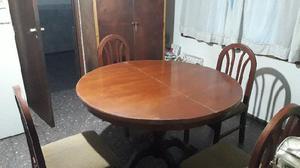 Juego de mesa redonda de cedro extensible con 6 sillas