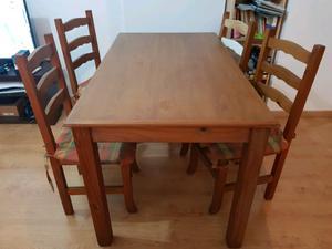 Mesa y sillas ciprés macizo