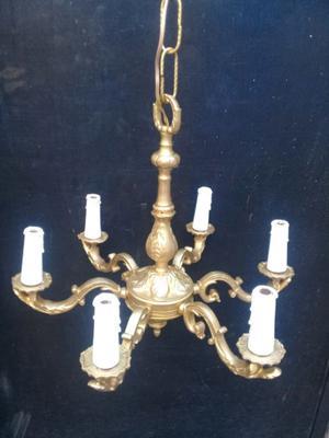 Araña de bronce macizo 6 luces
