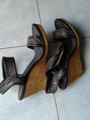 "VENDO SANDALIAS DE CUERO MARRON CHOCOLATE, ""ZARA"","