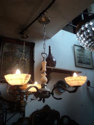 Antigua araña bronce niquelado y alabastro. Antigua Saudade