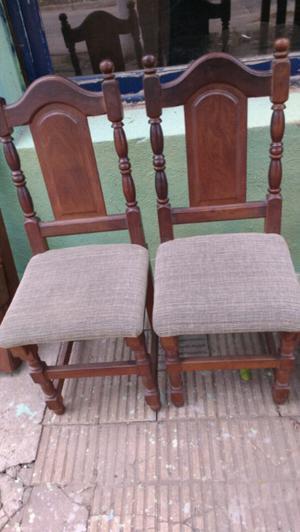 juego de 6 sillas de algarrobo tapizadas