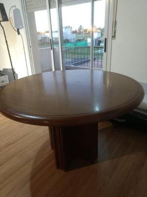 Mesa de madera caoba, redonda, extensible con base robusta