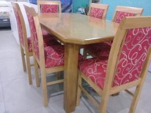 Juego de comedor mesa extensible más 6 sillas reforzadas
