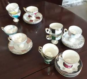 Juego de tazas de café de porcelana china, 11 piezas