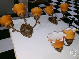 Aplique de bronce tallado antiguo juego de 3