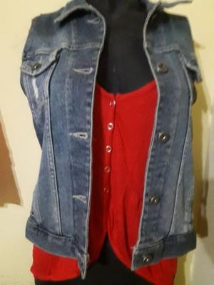 CHALECO DE JEANS MUJER TALLE S