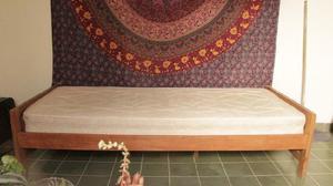 Cama de madera y colchon somier 1 plaza