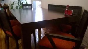 Juego de mesa y silla en guatambu color wengue