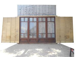 Antigua portada de madera en cedro con celosías (290x215cm)