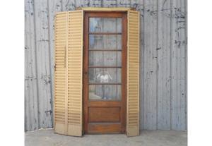 Antigua puerta de madera en cedro con celosías (89x225cm)