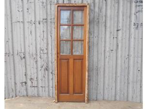 Antigua puerta de madera en cedro con marco (69x205cm)