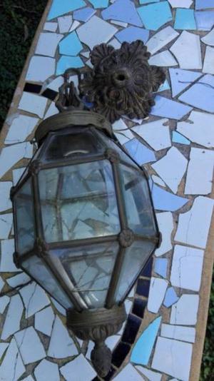Antiguo Farol Versalles En Bronce Con Vidrios Biselados.