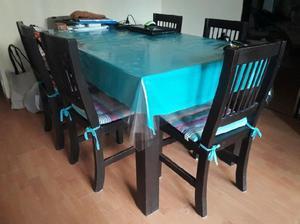 Juego de mesa 6 sillas de pino macizo