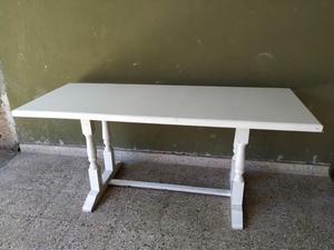Mesa madera pintada sintético blanco