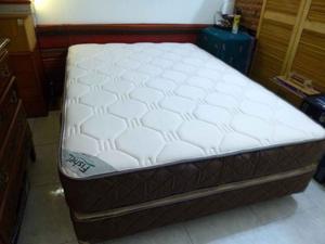 Imperdible colchón resorte y sommier dos plazas Fisher