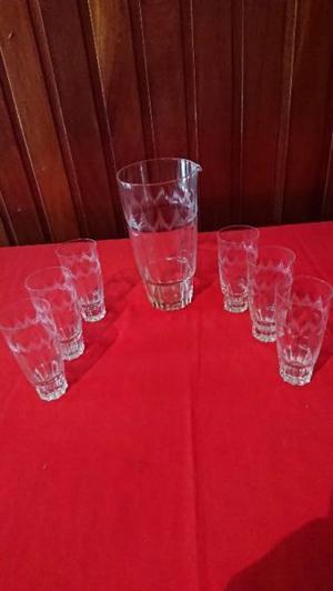 Jarra Coctelera Antigua Juego Con 6 Vasos vidrio Tallados