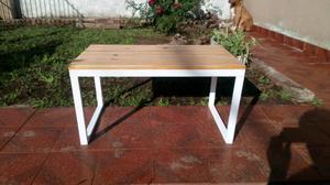 Mesa Ratona en hierro y madera estilo industrial