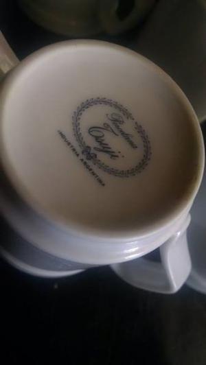 Juego de 4 jarritos de cafe de porcelana Tsuji + azucarera