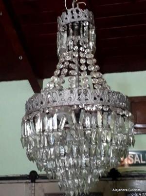 PAREJA de ARAÑAS de cristal de 4 luces cada una