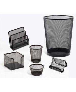 Set x 3 p/Oficina en malla metálica negro
