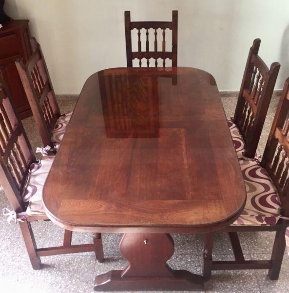 Juego de comedor ALGARROBO Mesa extensible +6 sillas