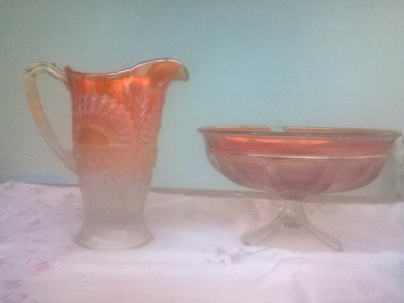 Jarra y ensaladera de vidrio