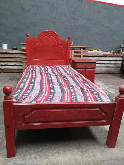 Juego Dormitorio: Cama 1 Plaza + Mesita De Luz + Carrito
