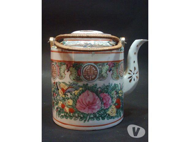 Antigua Tetera De Porcelana De Canton Sello Rojo