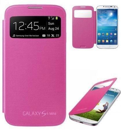 Flip Cover S-view Samsung Galaxy S4 Mini Color Rosa Nuevo