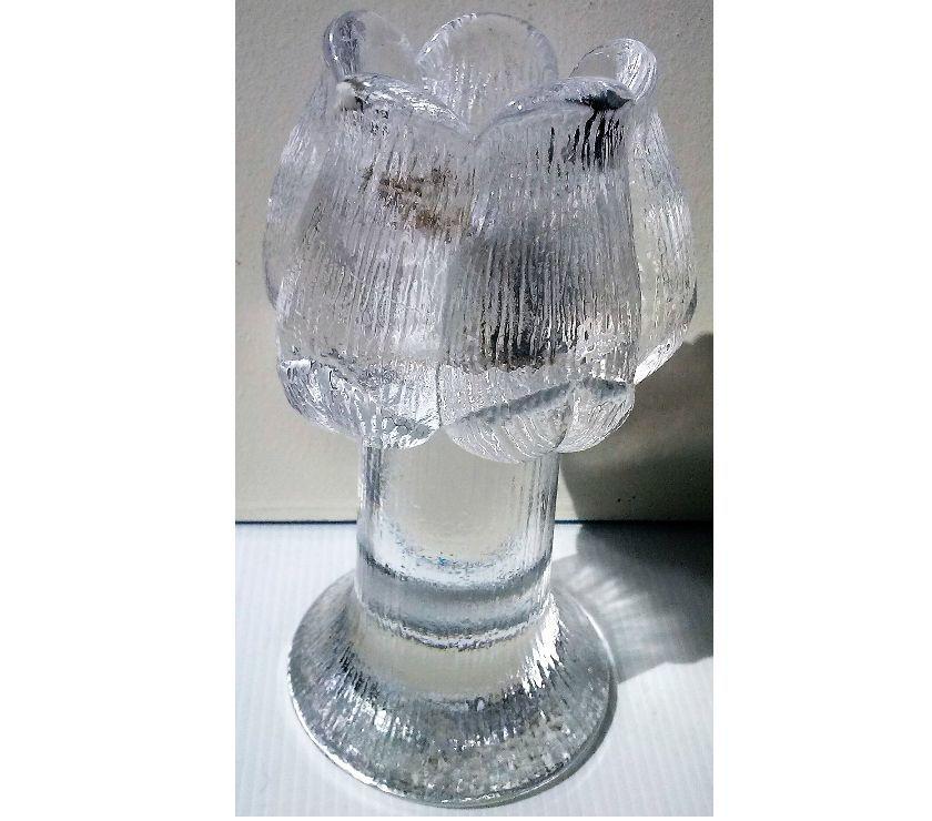 Porta vela de cristal en forma de flor macizo