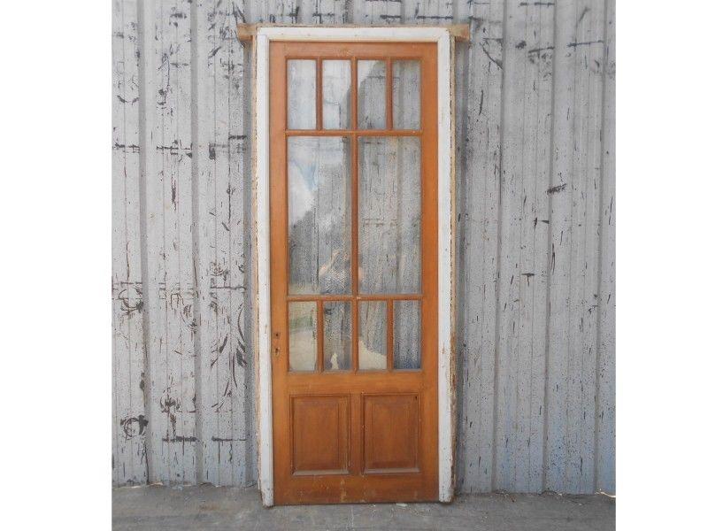 Antigua puerta de madera en cedro con marco (95x230cm)