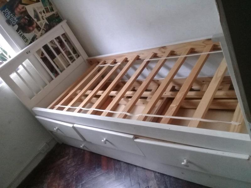 Cama laqueada 1 plaza con cajones y cama cajón